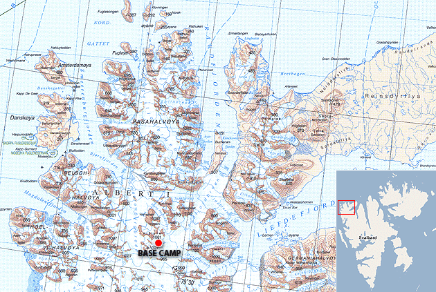 Working area for the expedition with base camp marked. (Map: Norsk Polarinstitutt)